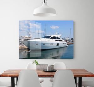 white yacht in marina HD Metal Print