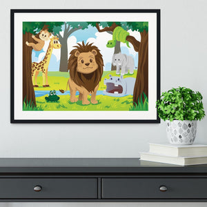 wild jungle animals in the animal kingdom Framed Print - Canvas Art Rocks - 1