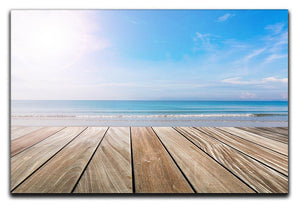 wood terrace on the beach and sun Canvas Print or Poster - Canvas Art Rocks - 1