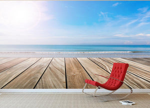 wood terrace on the beach and sun Wall Mural Wallpaper - Canvas Art Rocks - 2