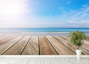 wood terrace on the beach and sun Wall Mural Wallpaper - Canvas Art Rocks - 4
