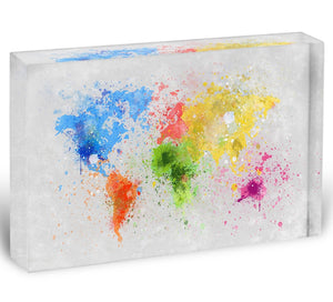 world map painting Acrylic Block - Canvas Art Rocks - 1