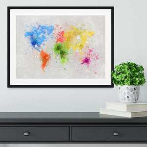 world map painting Framed Print - Canvas Art Rocks - 1
