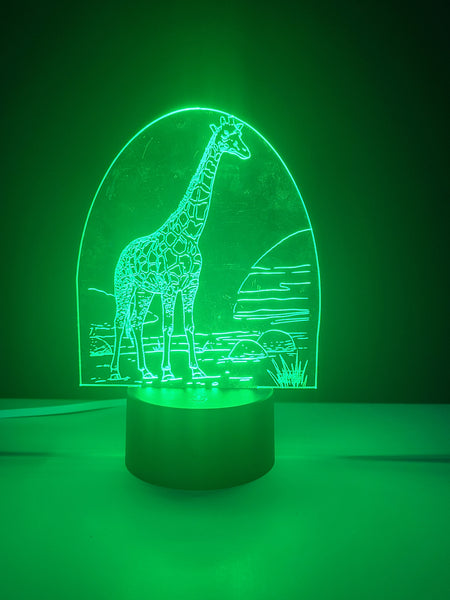 Laser Cut and Engraved Giraffe 3D Acrylic LED Light Lamp