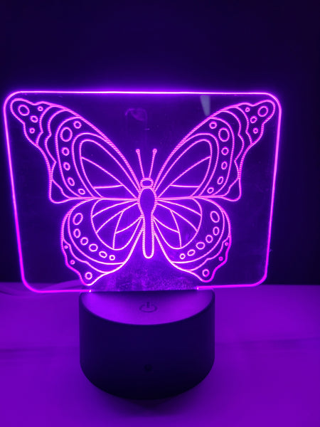 Laser Cut and Engraved Butterfly 3D Acrylic LED Light Lamp