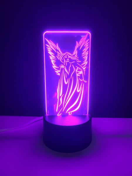 Laser Cut and Engraved Elegant Angel Acrylic LED Light