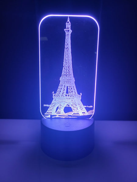 Laser Cut and Engraved Eiffel Tower Acrylic LED Light Lamp