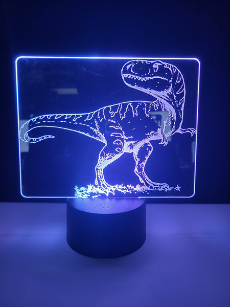 Laser Cut and Engraved T-Rex Dinosaur Acrylic LED Light Lamp
