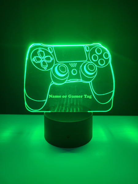 Laser Cut and Engraved Playstation Style Controller LED Light Can Be Personalized