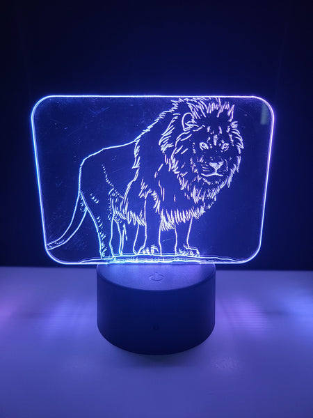 Laser Cut and Engraved Lion King of the Jungle Acrylic LED Light Lamp