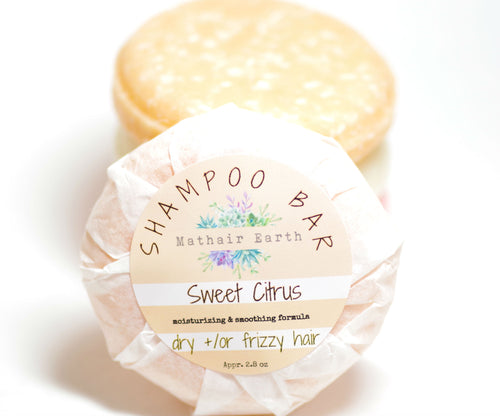 shampoo bar. sweet citrus shampoo bar. pH balanced shampoo bar.
