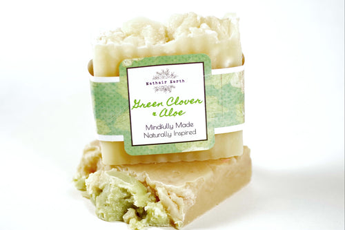 green clover and aloe soap. bar soap. handcrafted soap. natural soap. soap by Mathair Earth.