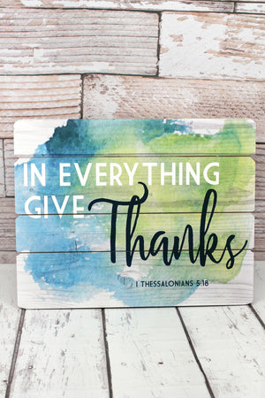 """Everything Give Thanks"" Wood Wall Sign"