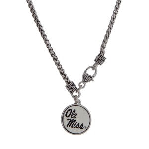 Ole Miss Necklace - Silver Tone