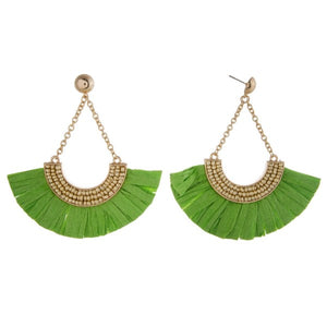 Raffia Paper Fan Drop Earrings