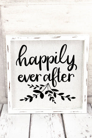 """Happily Ever After"" Framed Linen Wall Art"