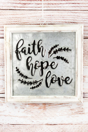 """Faith Hope and Love"" Embossed Metal and Wood Framed Sign"
