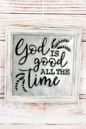 """God is Good"" Embossed Metal and Wood Framed Sign"