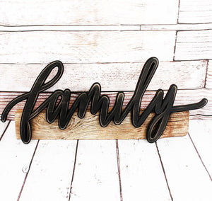 """Family"" Sculpted Word Sign"