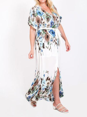 Floral Print Faux Wrap Maxi Dress -Curvy