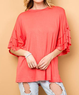 Solid Modal Top w/ Triple Layered Sleeves - Curvy