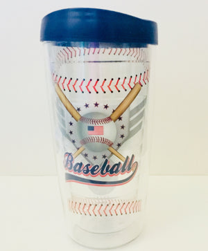 Baseball 16 oz. Traveler/Tumbler with Navy Lid
