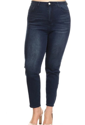 Cropped Skinny Dark Denim Jeans