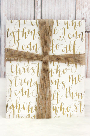 Phillipians 4:13 Canvas w/ Jute Cross Wall Art
