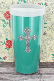 Bling Cross Teal 16 oz. Tumbler with Clear Lid