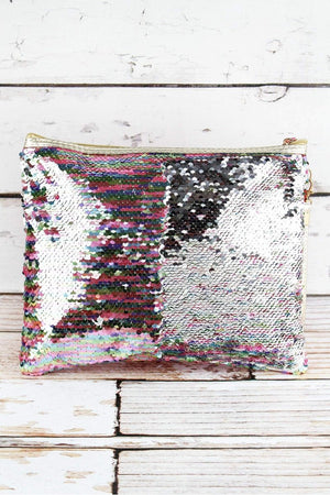 Rainbow Mermaid Sequin Cosmetic Pouch