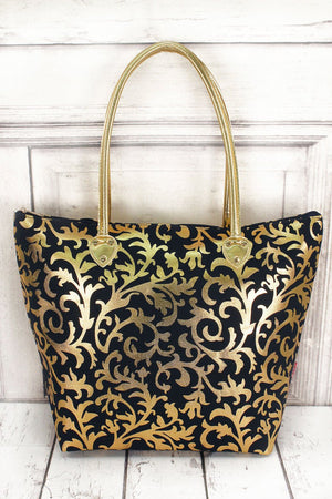 NGIL Metallic Gold Ivy Damask Navy Shoulder Tote