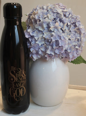 """Be Still"" Black 17oz Stainless Steel Water Bottle"