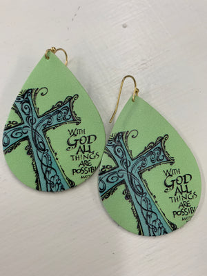 Faux Leather Teardrop Earrings - Prints & Solids