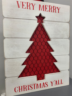 "'Very Merry Christmas Y'all"" Christmas Tree Sign"