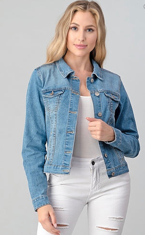 Cropped Slim Fit Denim Jacket
