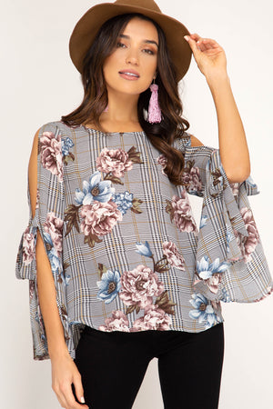 Open Bell Sleeve Plaid & Floral Top