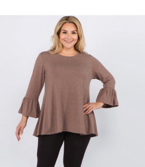 3/4 Bell Sleeves Tunic Top - Curvy