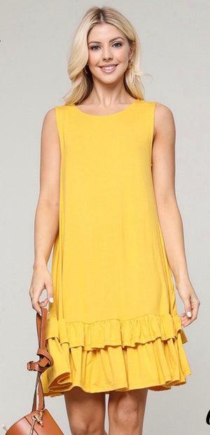 Sleeveless Ruffled Hem Dress