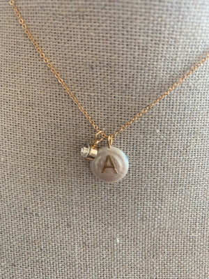 Pearl & Rhinestone Initial Necklace
