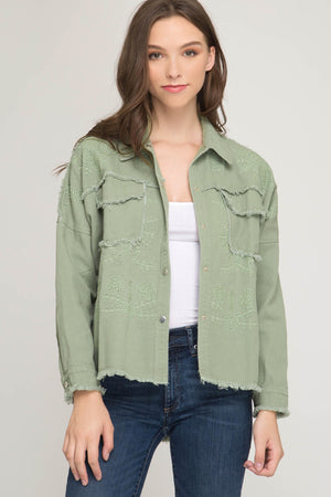 Embroidered Lightweight Denim Jacket