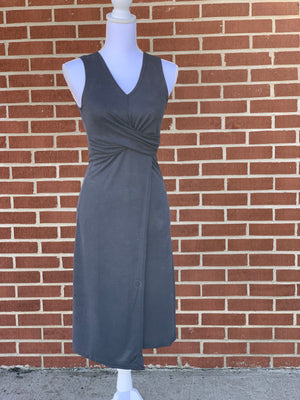Sleeveless Modal Midi Dress w/ Front Cross Detail
