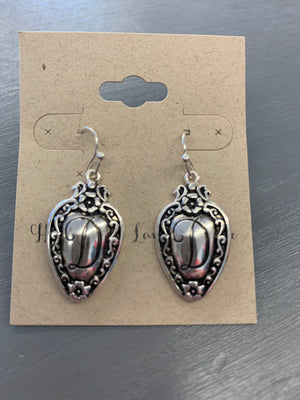 Antique Silvertone Initial Spoon Earrings