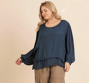 Puff Sleeve Pom Pom Trim Hem Top