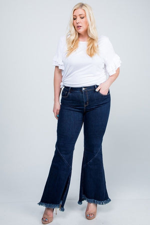 Mid Rise Wide Boot Cut Jeans w/ Frayed Hem - Curvy