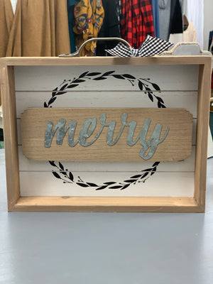 """Merry"" Wood with Metal Drawer Sign"