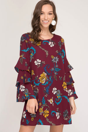 Bell Sleeve Floral Print Lined Dress
