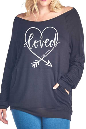Loved Heart Graphic Top w/ Front Kangaroo Pocket