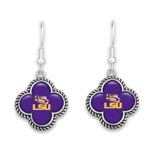 Officially Licensed Silvertone earrings with Clover Shape Logo
