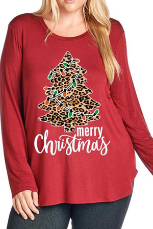 Leopard Pattern Christmas Tree with Lights Graphic Long Sleeve Top