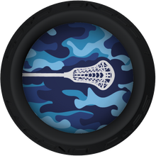 Blue Camo Lacrosse Stick Black End Cap